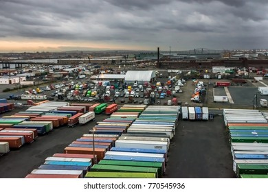 KEARNY, NEW JERSEY - DECEMBER 5: A scenic view of the Port Kearny trailer yard in and industrial area off the Turnpike as seen on December 5 2017 in New Jersey.