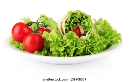 Kebab - grilled meat and vegetables, on plate, isolated on white