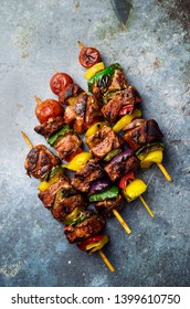 Kebab with meat and vegetables