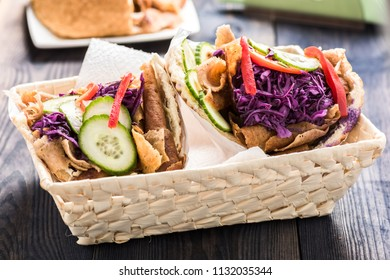 Kebab - Meat with vegetables in pita bread roll