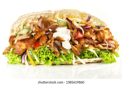 Kebab Sandwich on white Background