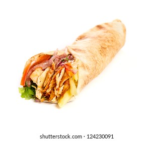 Kebap with grilled chicken and vegetables