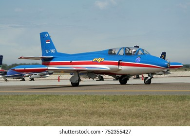 KECSKEMET, HUNGARY - AUG 17, 2008: Yugoslavian Soko G-2 Galeb fighter jet taxiing to the runway at the Kecsemet Airshow.
