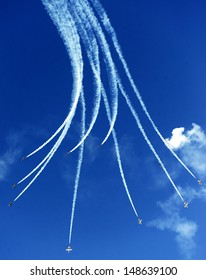 "KECSKEMET, HUNGARY - AUGUST 3: Italian aerobatic team ""Frecce Tricolori"" performs at airshow August 3, 2013 in Kecskemet"