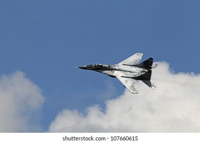KECSKEMET, HUNGARY - AUGUST 7, a MIG-29 Fulcrum flies at the International Air and Military Show on August 7, 2010 in Kecskemet, Hungary