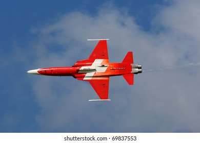 KECSKEMET, HUNGARY - AUGUST 7: Swiss Patrouille Suisse display team performs at the Kecskemet airshow on August 07, 2010 in Kecskemet, Hungary