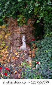 Kecskemet Hungary: Oct 25 2018:  Illustrative statues in the  Catholic church at down town.