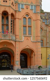 Kecskemet Hungary Oct 25 2018: Section of the nice and  richly decorated secession style Town Hall in Kecskemet city