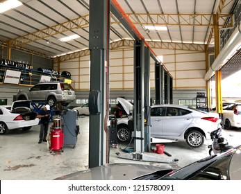 Kedah, Malaysia - 28-10-2018 : the car monthly service and tayar replacement in the workshop at Kedah,Malaysia.
