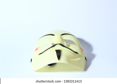 Kedah, Malaysia - April 2019: Vendetta mask on white background.  This mask is a well-known symbol for the online hacktivist group Anonymous. Also used for protests against governments.