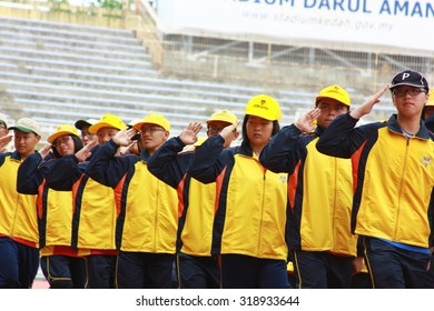 Kedah, Malaysia, Aug. 21, 2015. The parade of sports in track and field held at the stadium.
