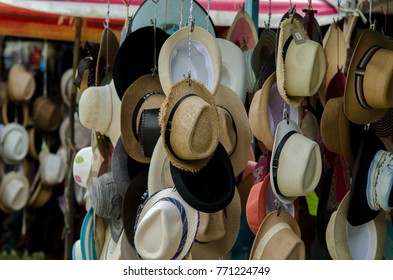 Kedah, Malaysia - December 8, 2017: A shop sell a bunch of hat for tourist in Langkawi island.
