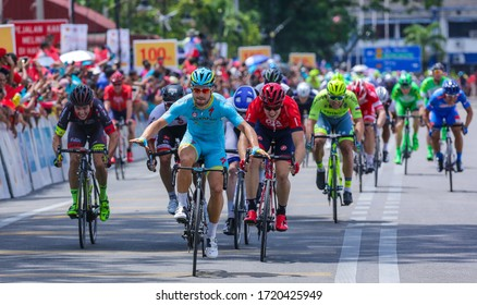 KEDAH, MALAYSIA - FEBRUARY 24, 2016: Italian sprinter Andrea Guardini compete during Le Tour de Langkawi (LTDL) 2016. LTDL is a multiple-stage bicycle race held in Malaysia.