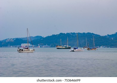 Kedah, Malaysia - March 18, 2017: Boat and ferry at sea of Langkawi kedah. The famous tourism spot in Malaysia