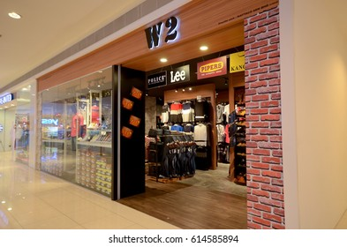 Kedah, Malaysia - March 23, 2017: W2 store sells many kinds of men's clothing including jeans and everyday wear