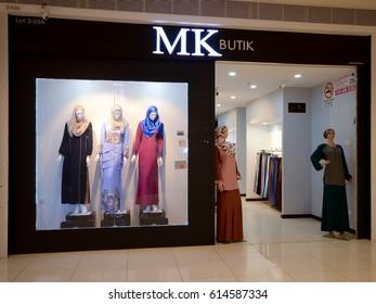 Kedah, Malaysia - March 23, 2017: Mk butik sells many beautiful muslim women's products especially clothing.