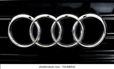 Kedah, MALAYSIA, Oct 23, 2017: close up of Audi logo on modern car  of Audi A4 S-line