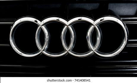 Kedah, MALAYSIA, Oct 23, 2017: close up of Audi logo on modern car  of Audi A4 S-line