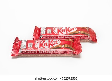 KEDAH, MALAYSIA, OCTOBER 11 2017. Kit Kat is a chocolate covered wafer bar created in 1911 by Rowntree's of York, England. Nestle which acquired Rowntree in 1988 now sells Kit Kat globally.