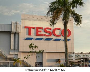 Kedah, Malaysia- October 2018 : Tesco signboard in Alor Star, Kedah Malaysia. The Tesco brand first appeared in 1924.