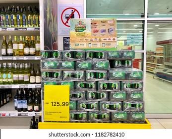 Kedah,Malaysia - 19-09-2018 : Carlsberg Beer are promotion in the Tesco Supermarket,Kedah,Malaysia.