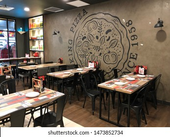 "Kedah,Malaysia - 8-8-2019 : the luxury interior of the restaurant named ""pizza hut"" in the shopping mall named ""landmark central"" in Kulim,Kedah."