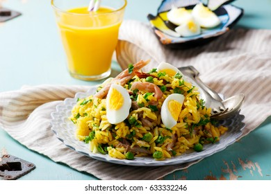 Kedgeree with a smoked mackerel. selective focus