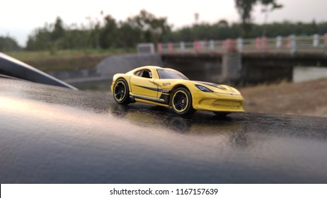 Kediri, Indonesia - August 29, 2018 : Hotwheels diecast model car. Hotwheels diecast made in Malaysia. This is 2013 Viper diecast car.