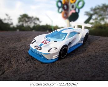 Kediri, Indonesia - June 21, 2018 : Hotwheels diecast model car. Hotwheels diecast made in Malaysia. This is 2016 Ford GT Race diecast car.