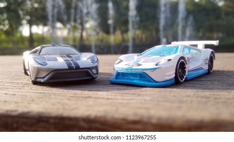 Kediri, Indonesia - June 21, 2018 : Hotwheels diecast model car. Hotwheels diecast made in Malaysia. This is 2016 Ford GT Race and 17 Ford GT diecast car.