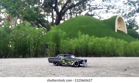 Kediri, Indonesia - June 30, 2018 : Hotwheels diecast model car. Hotwheels diecast made in Malaysia. This is 55 Chevy diecast car.