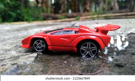 Kediri, Indonesia - June 30, 2018 : Hotwheels diecast model car. Hotwheels diecast made in Malaysia. This is Lamborghini Countach diecast car.