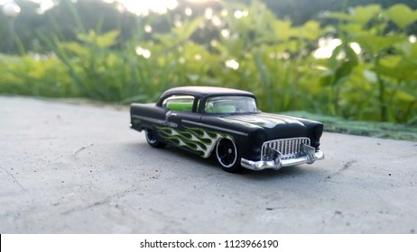 Kediri, Indonesia - June 30, 2018 : Hotwheels diecast model car. Hotwheels diecast made in Malaysia. This is 55 Chevy diecast car.