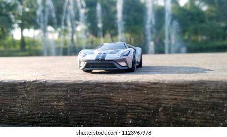 Kediri, Indonesia - June 30, 2018 : Hotwheels diecast model car. Hotwheels diecast made in Malaysia. This is 17 Ford GT diecast car.