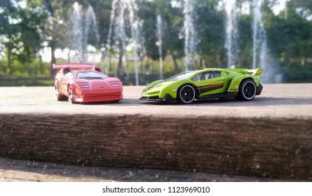 Kediri, Indonesia - June 30, 2018 : Hotwheels diecast model car. Hotwheels diecast made in Malaysia. This is Lamborghini Countach and Lamborghini Veneno diecast car.