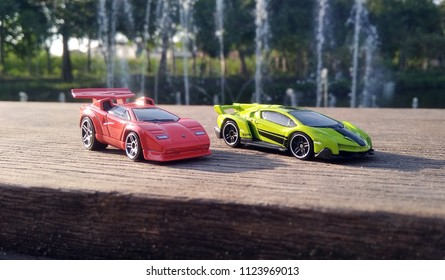 Kediri, Indonesia - June 30, 2018 : Hotwheels diecast model car. Hotwheels diecast made in Malaysia. This is Lamborghini Countach and Lamborghini Veneno diecast car.