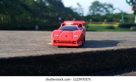 Kediri, Indonesia - June 30, 2018 : Hotwheels diecast model car. Hotwheels diecast made in Malaysia. This is Lamborghini Countach diecast car.