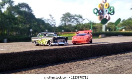 Kediri, Indonesia - June 30, 2018 : Hotwheels diecast model car. Hotwheels diecast made in Malaysia. This is Lamborghini Countach and 55 Chevy diecast car.