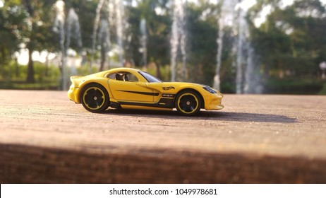 Kediri, Indonesia - March 20, 2018 : Hotwheels diecast model car. Hotwheels diecast made in Malaysia. This is 2013 Viper  diecast car.
