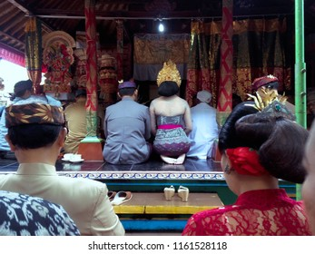 Kediri, Tabanan Regency, Bali/Indonesia - Aug 17 2018: Balinese Wedding Ceremony Procession Of The Bride Releasing From Her Family