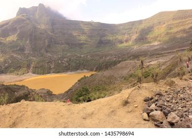 kediri,indonesia. crater kelud and mount kelud in kediri. - image