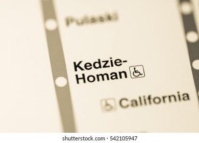 Kedzie-Homan Station. Chicago Metro map.
