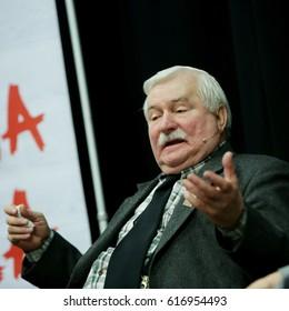 KEDZIERZYN-KOZLE, POLAND - OCTOBER 23, 2016 : Meeting with Lech Walesa in Kedzierzyn-Kozle