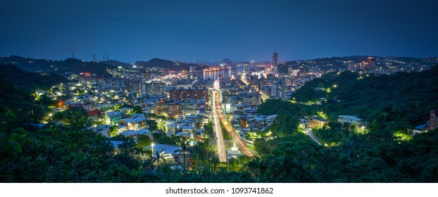Keelung City Skyline - Panoramic cityscape (night view), major port city situated in the northeastern part of Taiwan.