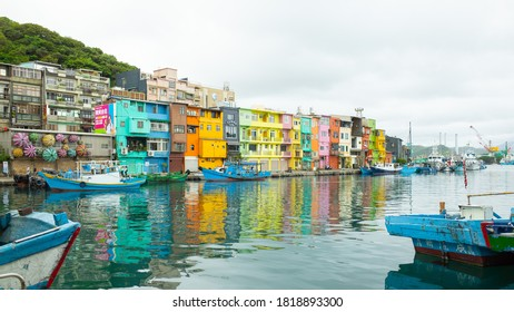 Keelung City , Taiwan - 20 September, 2020. Zhengbin Fishing Port. Colorful Zhengbin Fishing Port at Keelung.