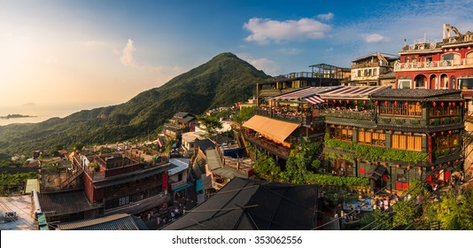 Keelung, Taiwan - July 27, 2015 : The colourful panorama view of Jiufen old city at evening, Jiufen, Taiwan.