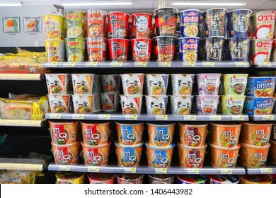 KEELUNG, TAIWAN - NOVEMBER 24, 2018: Ramen noodles selection at a convenience store in Keelung, Taiwan.