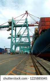 Keelung, Taiwan - September 16, 2004: Customs exports of many containers stacked.