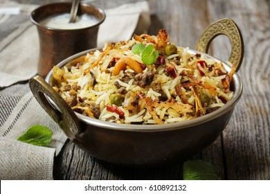 Keema /  Hyderabadi Kheema  Biryani -Basmati rice cooked with minced meat and aromatic spices, selective focus