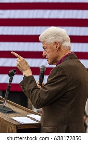 Keene, New Hampshire - OCTOBER 17, 2016: Former U.S. President Bill Clinton speaks on behalf of his wife Democratic presidential nominee Hillary Clinton during a campaign event at Keene College.